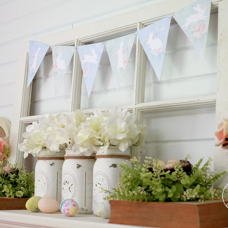 Beautiful Easter mantle with free printable bunny bunting