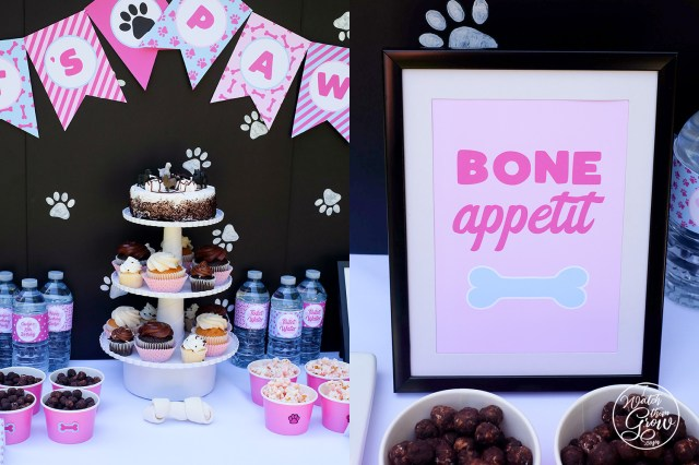 "Puppy party desert table with treats and cupcakes. Framed ""Bone appetit"" sign."