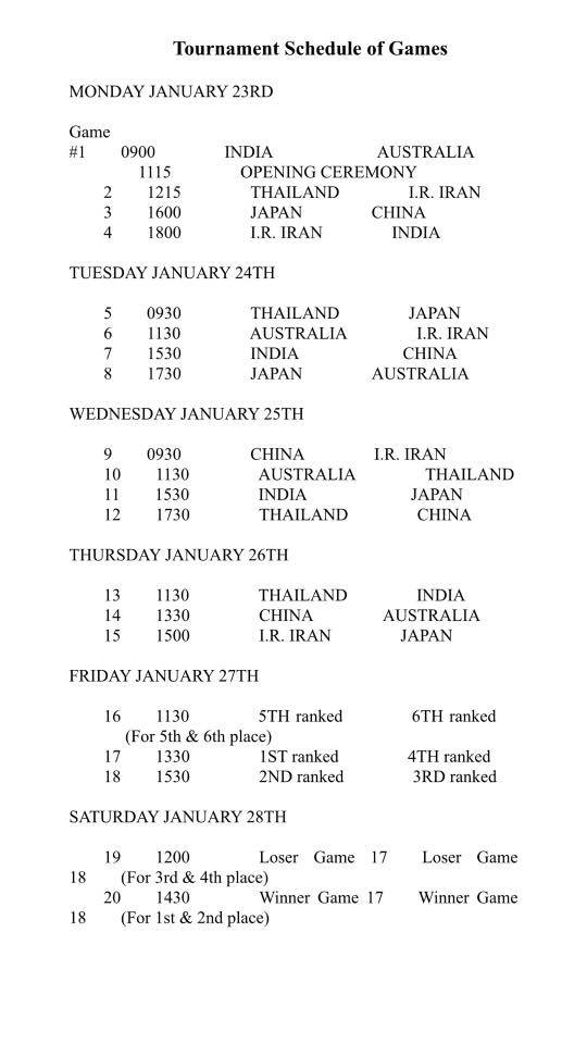 Schedule for the AOZ U23 qualifying tournament 2017
