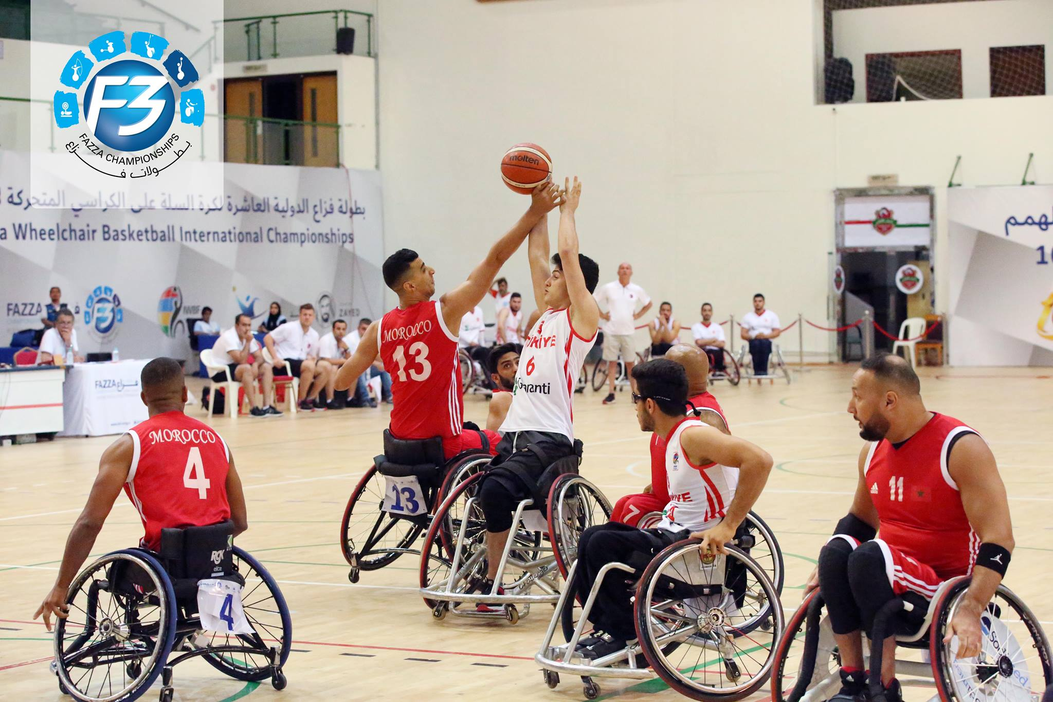 Turkey vs Morocco compete in the Fazza International Wheelchair Basketball Championships