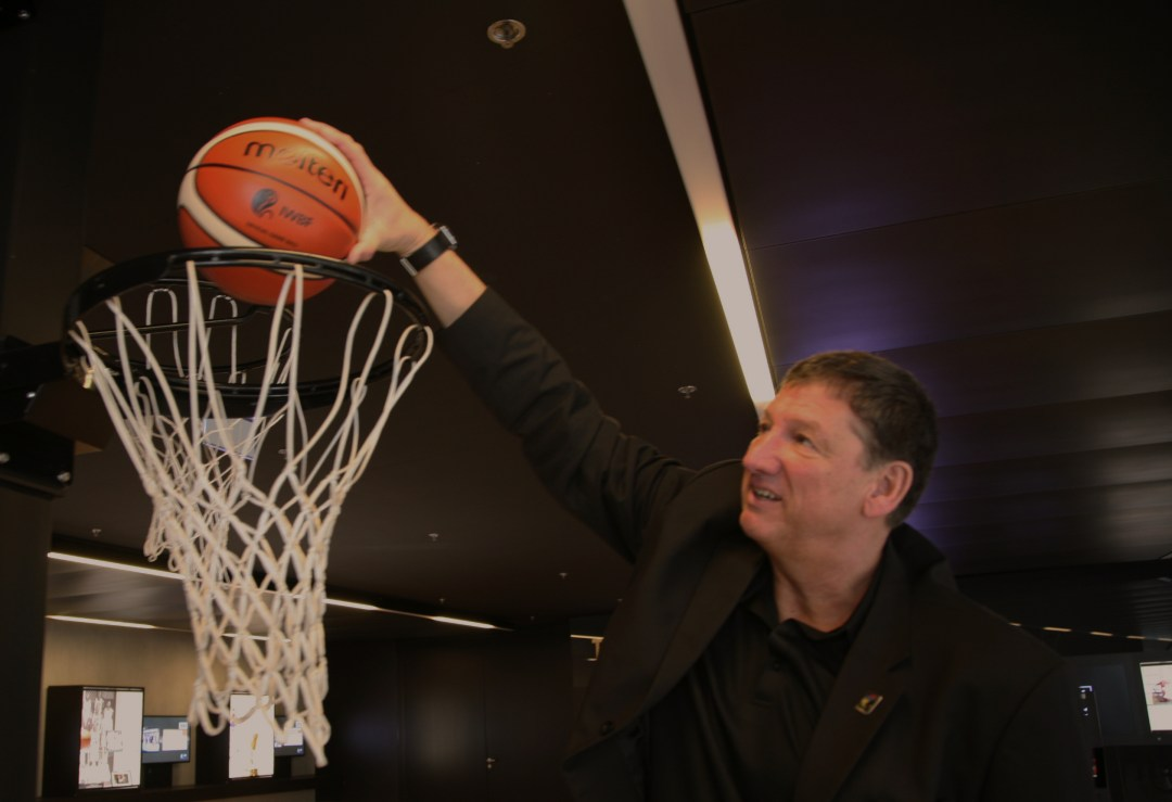 Ulf Mehrens, President of IWBF with the new Molten balls branded with IWBF