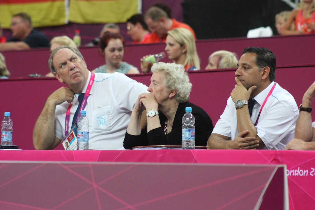 Steve Spilka pictured on the right of IWBF Secretary General, Maureen Orchard as part of the the TTC at London 2012