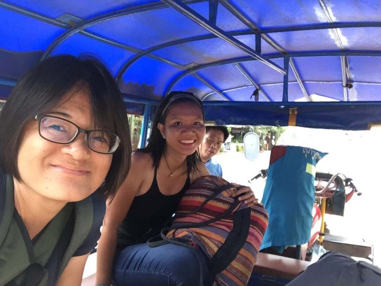 Inside the tuk-tuk to the slow boat pier
