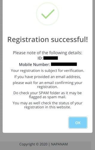 Napanam QR Code confirmation message