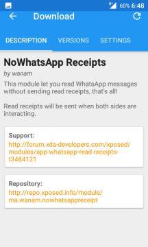 Xposed's NoWhatsApp Receipts module