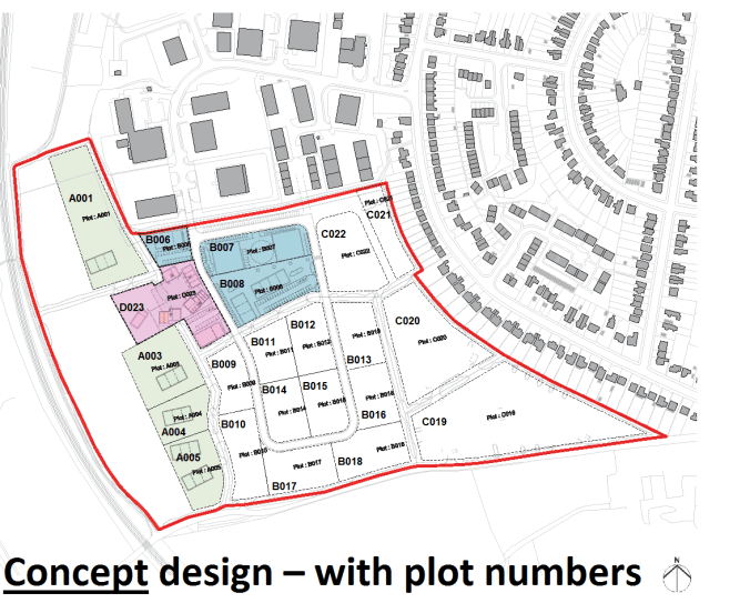 Concept design with plot numbers: Nicholson Road