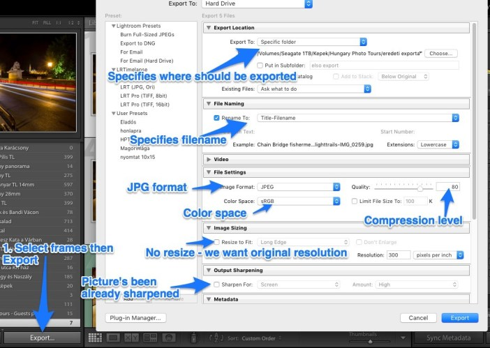 Lightroom export panel explained
