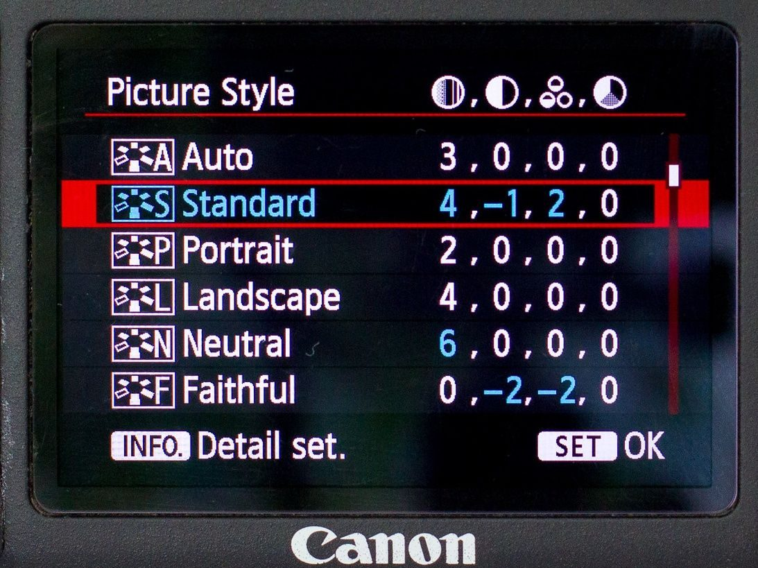 Canon picture style settings