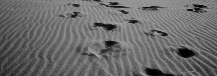 footprints on ribbed sandy coast in daylight