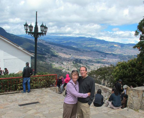 Cinda and her husband in Monserrate, Bogotá Colombia