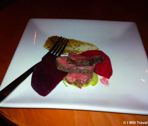 White Strip Lamb served with minted cucumbers and beetroot with Murray River salt flakes.