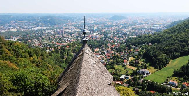 Panoramic view of the Graz basin and the eastern Styrian hill