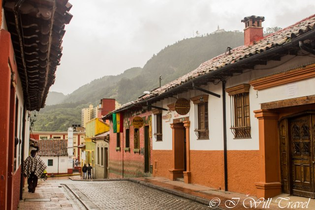 A typical street in La Candelaria.  Colonial architecture that has been kept rather well.