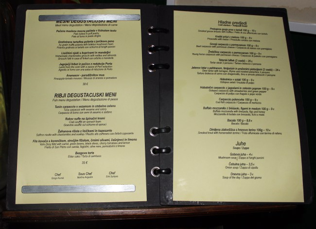 Spajza Restaurant Menu