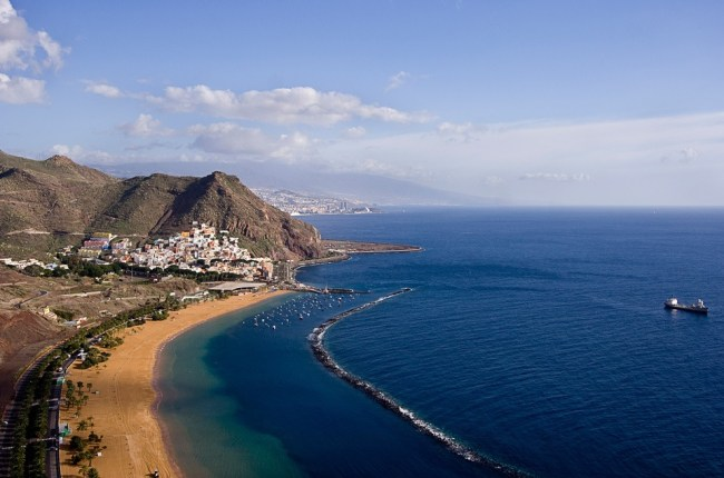 An aerial view of a beach in Tenerife