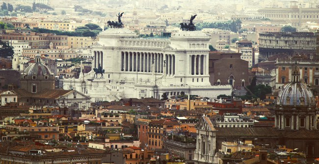 Aerial view of the city of Altare della Patria - Rome Italy