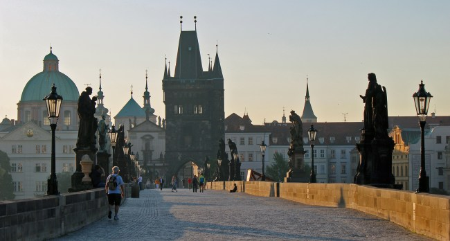 View of Charles Bridge very early in the morning.