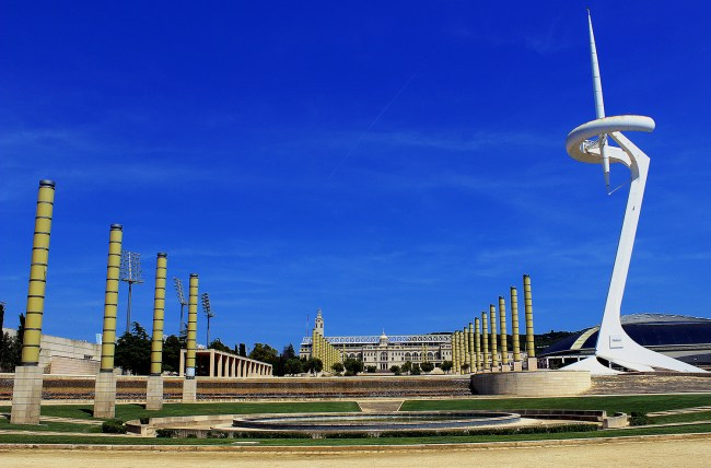 Montjuïc Communications Tower located in the Olympic Park in Barcelona