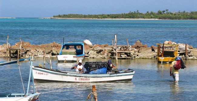 Fishermen unloading their catch in Guardalavaca, Cuba