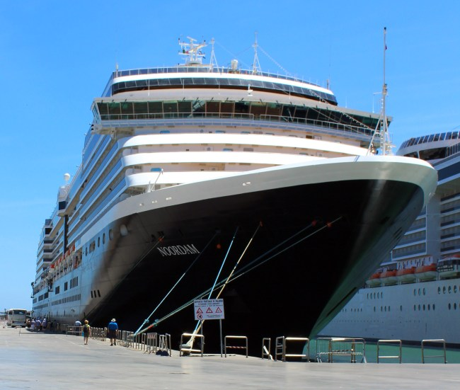 The Noordam Ship docked on the port