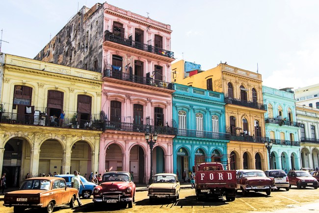 Colourful colonial buildings located near the National Capitol Building in Havana.