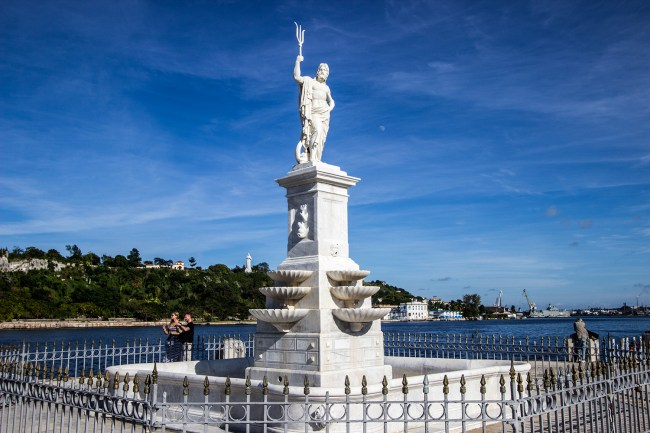 Marble Statue Of Greek God Poseidon in Havana Bay.
