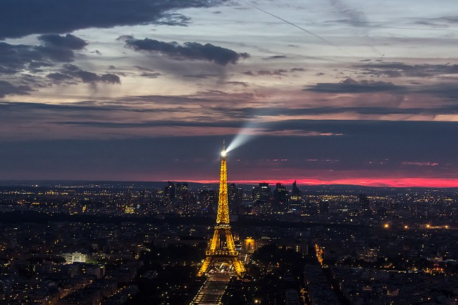 View of Paris and the Eiffel tower light show from Montparnesse