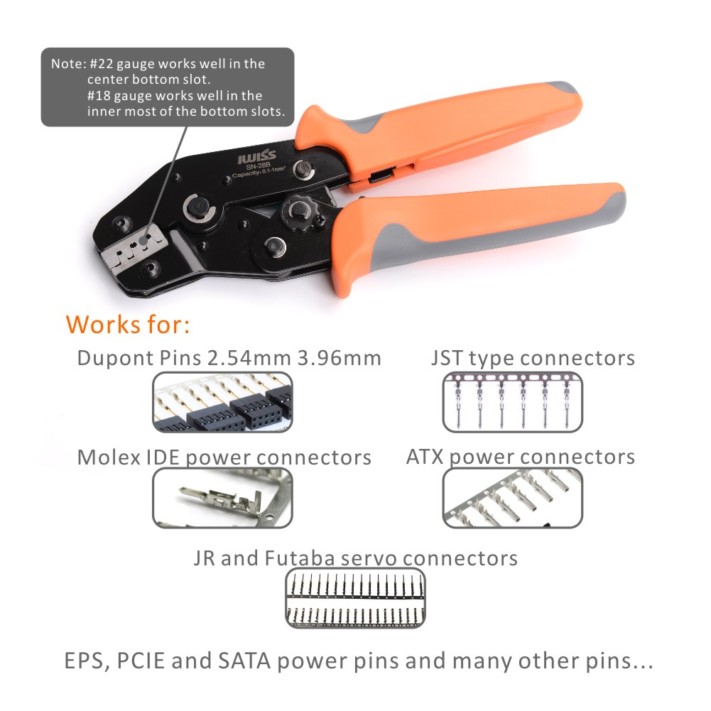 For Dupont SN-28B Pin Crimping 0.1-1.0mm² Crimper Tool 2.54mm 3.96mm 28-18AWG