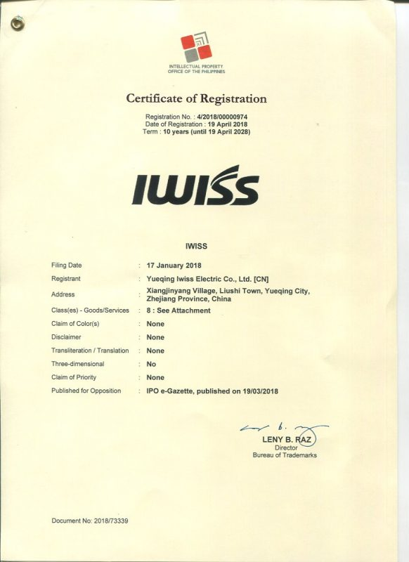 IWISS Bureau of trademarks 2018