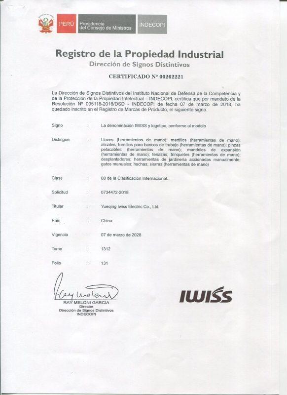 IWISS PERU Certification 2018