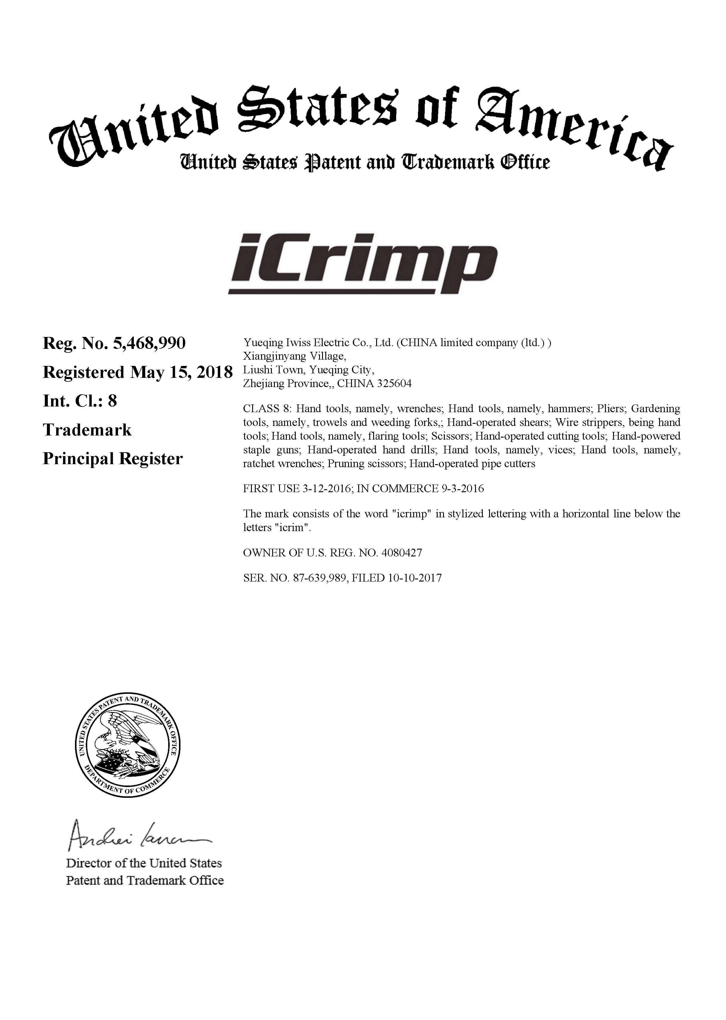 Archivo de certificación Icrimp USA int.cl 8