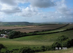 View west over Week Farm from Stenbury Down © GT