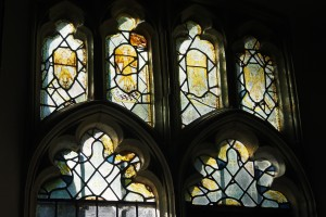 Medieval stained glass in the Gatcombe Church