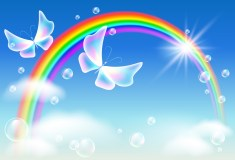 Rainbow butterflies Positive Healing and Uplifting transformation