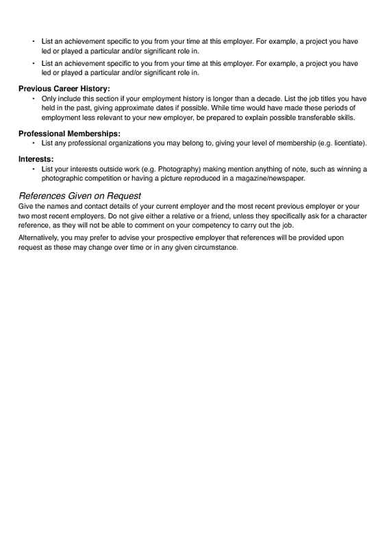 2-Page Wide Margin Resume Page Two
