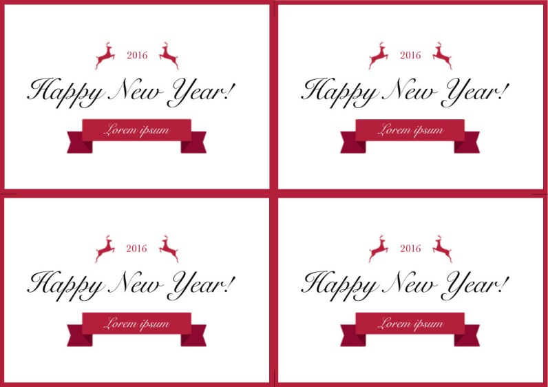 Happy New Year Cards in Red and White Front