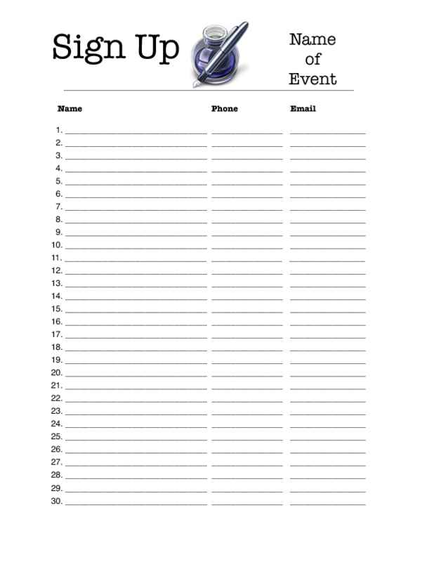 IWorkCommunity  Blank Sign In Sheet Printable