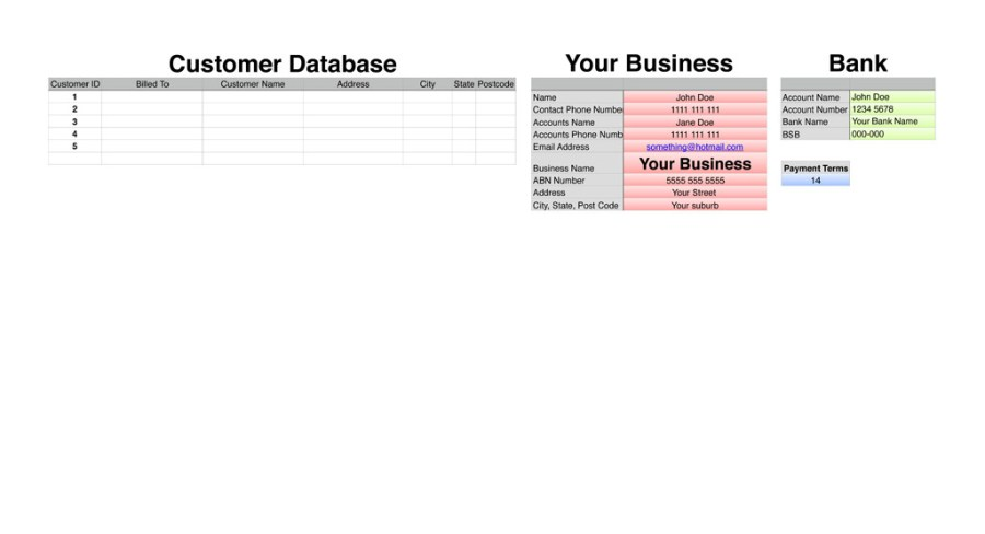 Small Business Accounting Workbook Customer Database