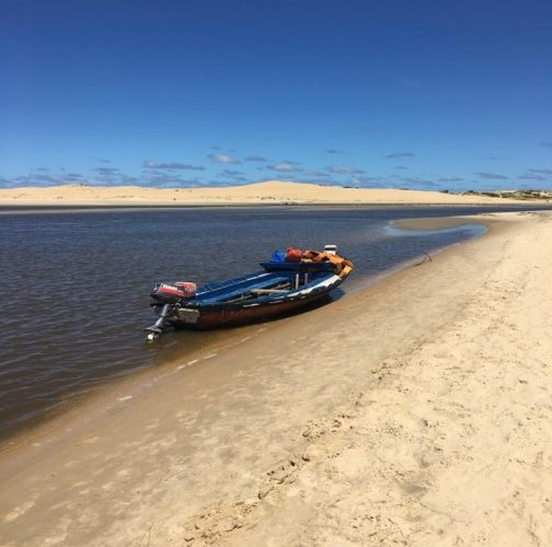 Boat to cross the river to Cabo Polonio