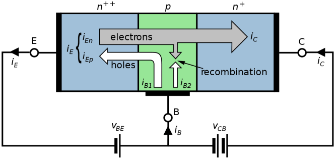 NPN BJT with forward-biased E–B junction and reverse-biased B–C junction
