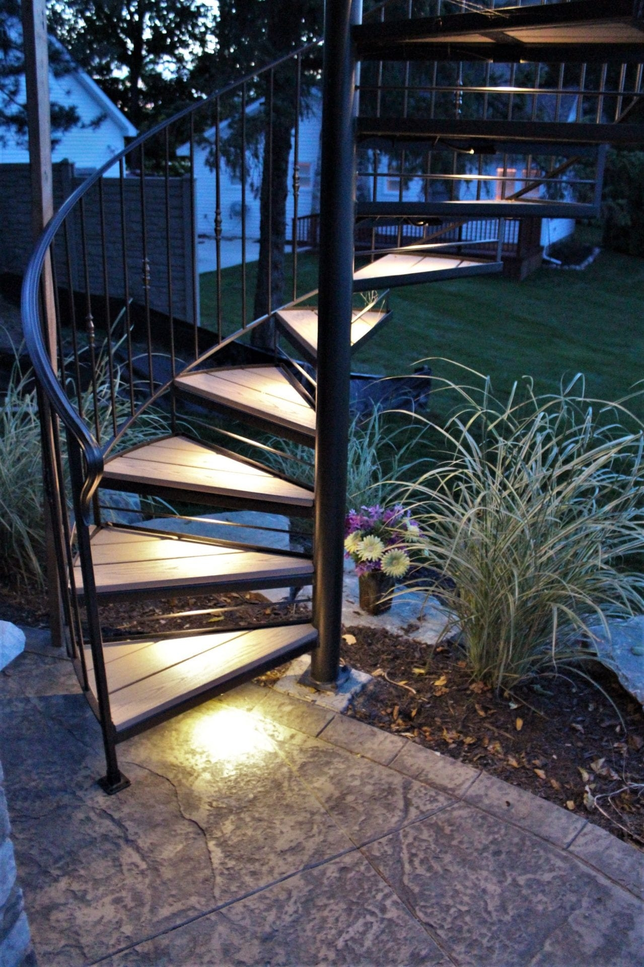 Spiral Stairs For Deck And Patio Great Lakes Metal Fabrication | Wooden Handrails For Outside Steps | Staircase | Building | Wrought Iron | Concrete Steps | Deck