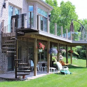 Spiral Stairs For Deck And Patio Great Lakes Metal Fabrication | Spiral Staircase For Outside Deck | Iron | Custom | Double Spiral | Railing | Portable Rectangular Concrete
