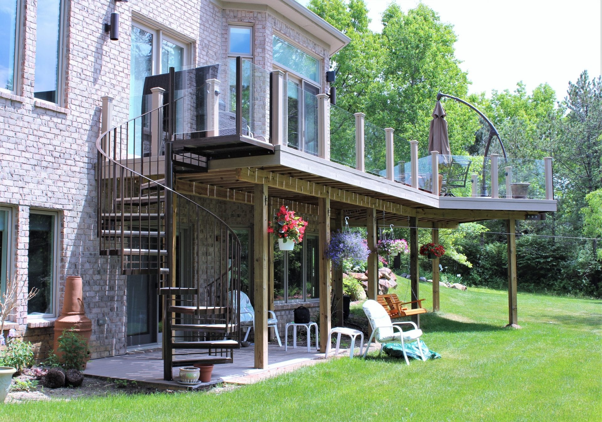 Brown Exterior Spiral Staircase Great Lakes Metal Fabrication | Spiral Staircase With Glass Railing | Exterior | In India Staircase | Stair Wood Bracket | Glass Insert | Inside Glass