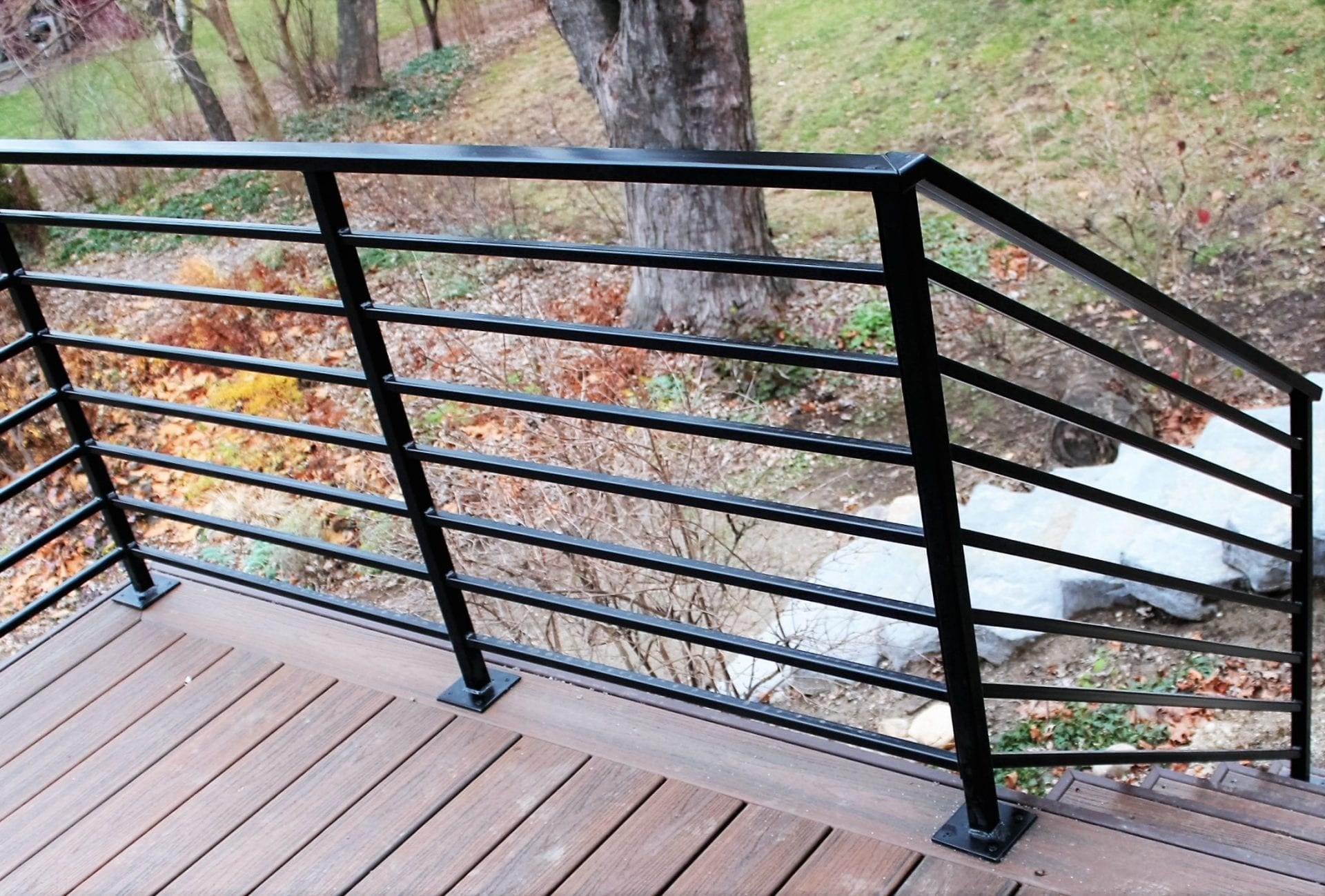 Horizontal Metal Railing For Deck Great Lakes Metal Fabrication   Horizontal Iron Stair Railing   Chris Loves   Modern   Popular   Low Cost   Remodel