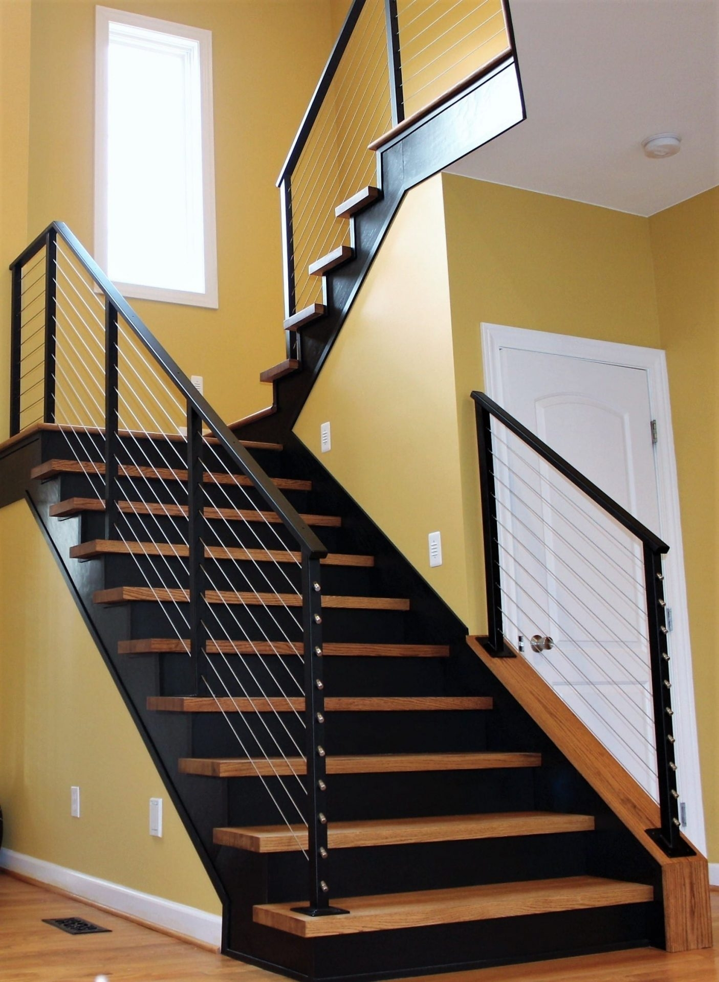Cable Rail For Interior Wood Stairs Great Lakes Metal Fabrication   Wood And Cable Stair Railing   Stairway   Wrought Iron   Staircase Railing   White   Vertical