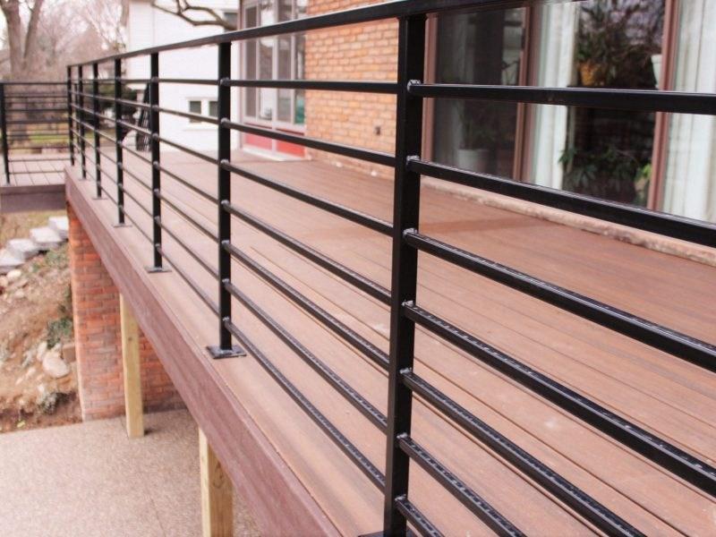 Horizontal Metal Railing For Deck Great Lakes Metal Fabrication | Iron And Wood Railing | Rod Iron | Interior | Deck | Custom | Horizontal