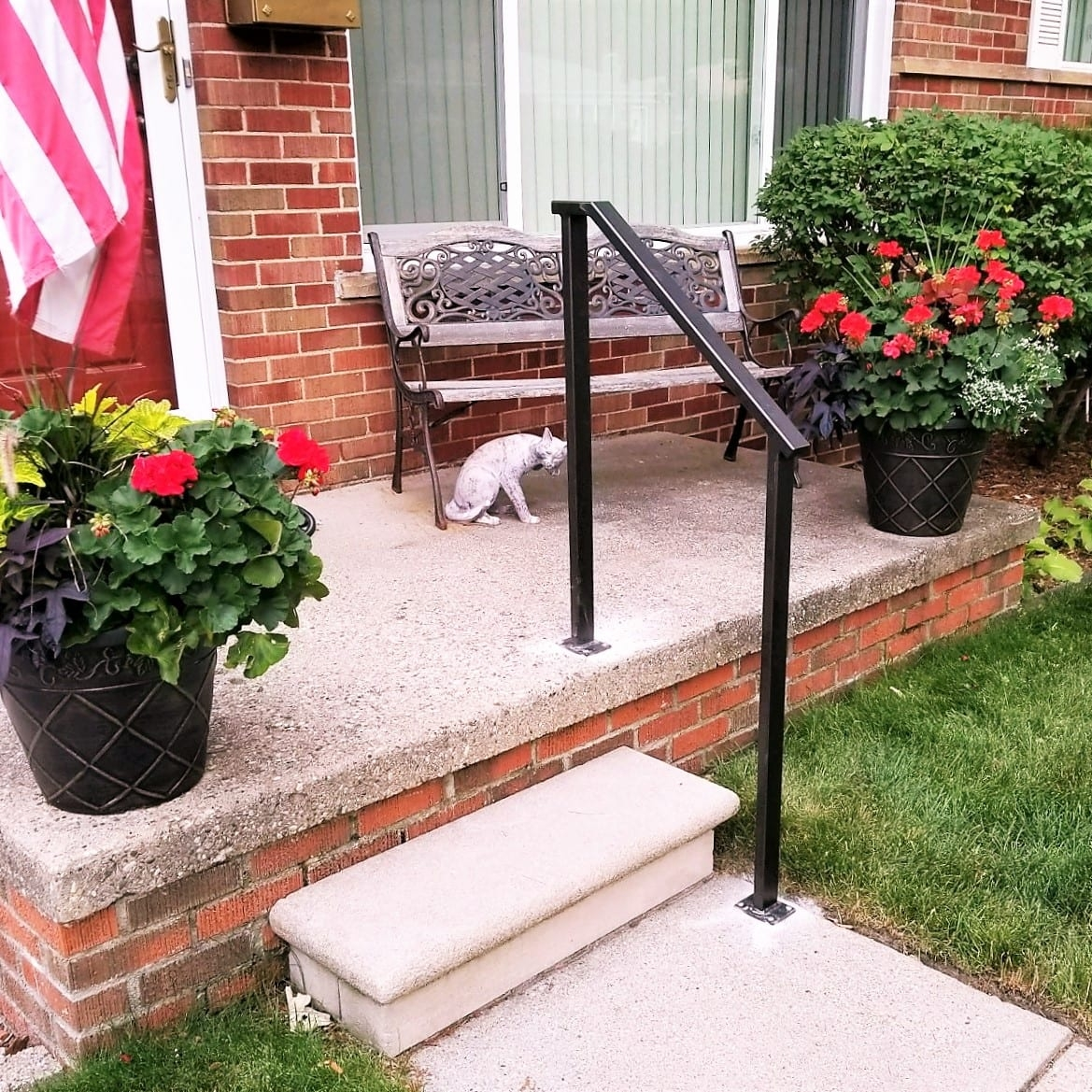 Simple Bronze Porch Step Rail Great Lakes Metal Fabrication   Handrails For Porch Steps   Deck   Simple   Railing   Temporary   Interior