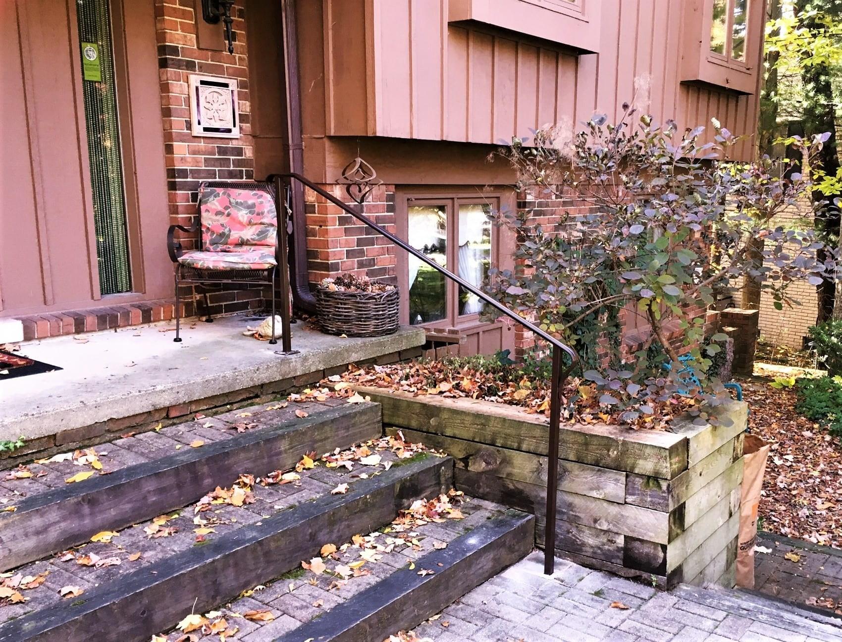 Simple Brown Metal Step Rail Great Lakes Metal Fabrication   Handrail Cost Per Foot