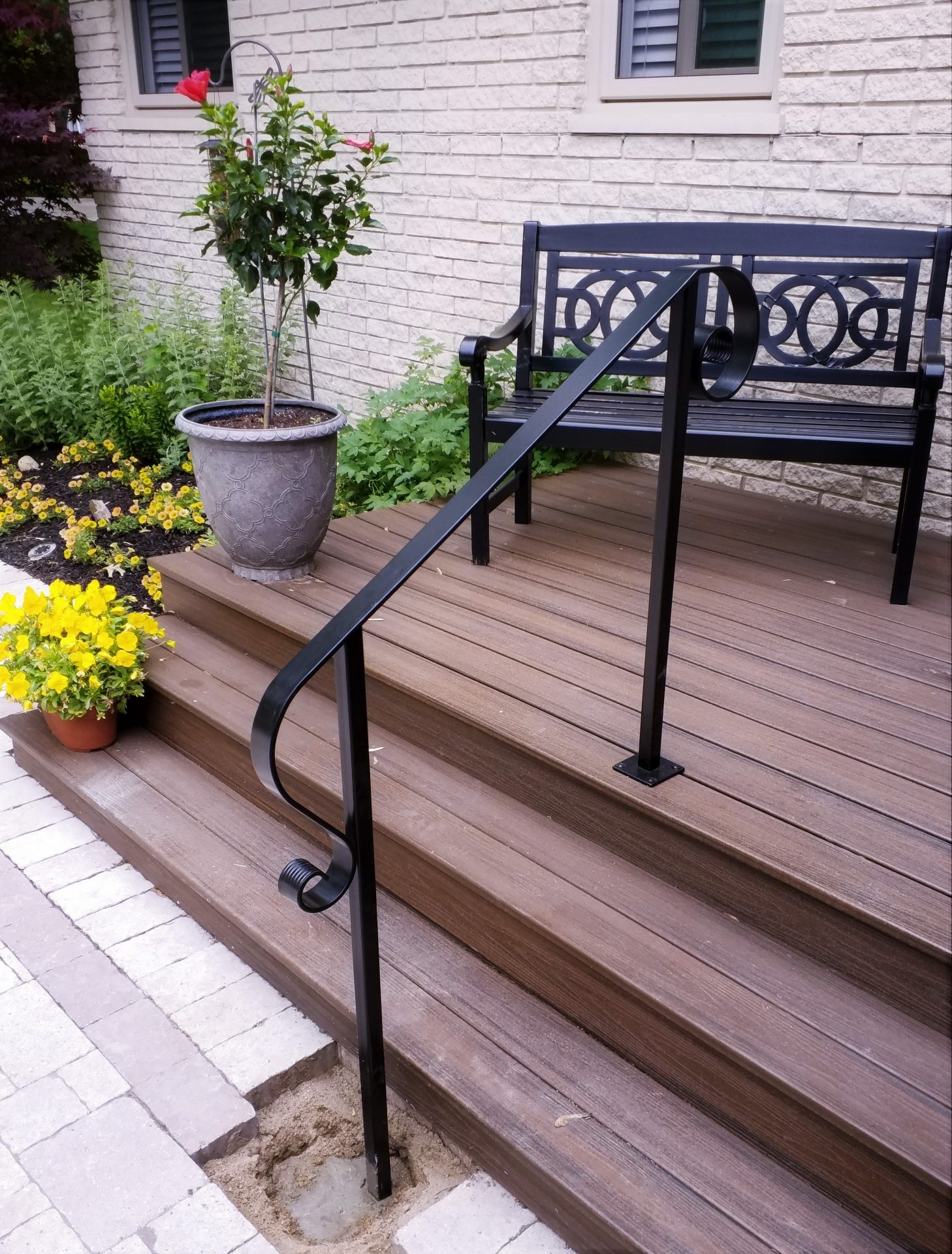 Decorative Steel Handrail At Wood Porch Great Lakes Metal | Decorative Handrails For Stairs | Main Entrance | Solid Wood | Different Style | Elegant | Steel Pipe
