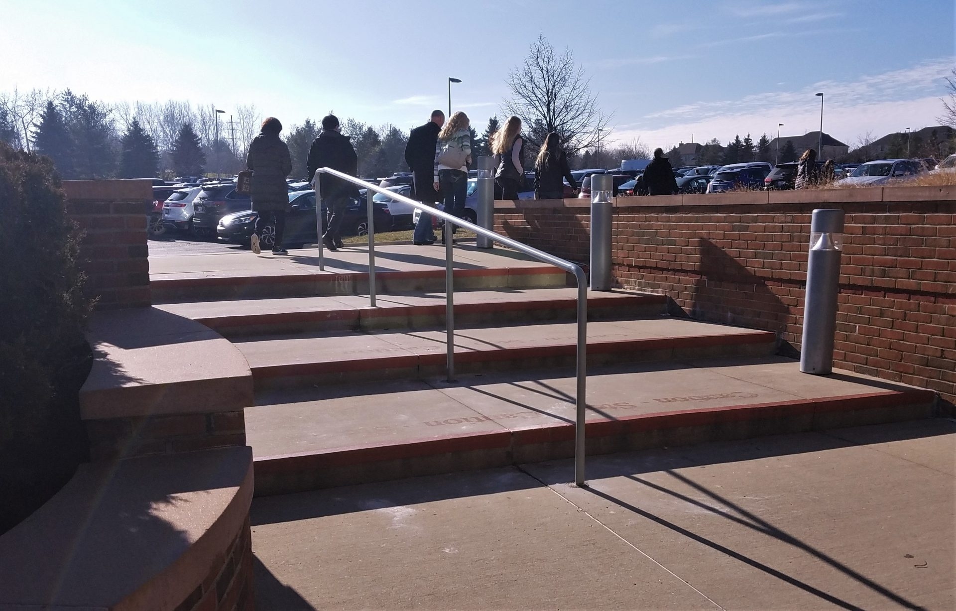 Stainless Steel Pipe Rail At Concrete Steps Great Lakes Metal | Railing For Concrete Steps | Stairwell | Retaining Wall | Concrete Slab Detail | Commercial | Safety